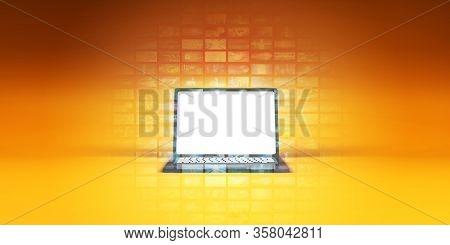 Digital Lifestyle Laptop Notebook Marketing Concept 3D Render