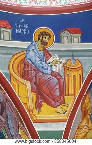 OHRID, MACEDONIA - MAY 04, 2019: Saint Mark the Evangelist, fresco in the Church of Saint Paraskeva of the Balkans near Saint Naum Monastery, Ohrid in Macedonia