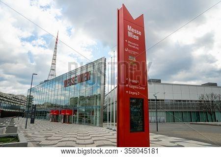 Vienna, Austria - March 2020: Messe Wien Architecture - Vienna Exhibition Center Known As Trade Fair