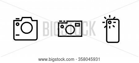 Set Photo And Video Camera Icon. Slr, Digital Pro And Telephone Camera Sign. Editable Vector Outline