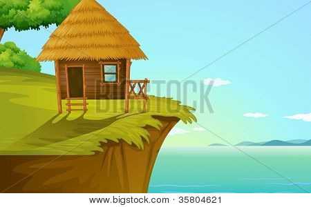 illustration of a house on a blue background