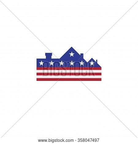 Usa Real Estate Company Emblem Idea. Cottage In American Flag Colors. Vector Illustration.
