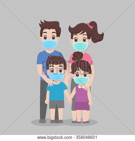 Family Wearing Protective Medical Mask For Prevent Virus Wuhan Covid-19.corona Virus, People Wearing