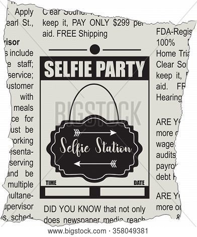 Fragment Of Classifieds Newspaper For Selfie Party