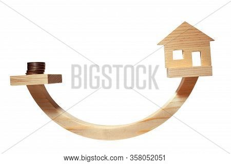 Balance Concept, Curved Wooden Board As Balance Isolated On White Background, Balancing On A Swing I