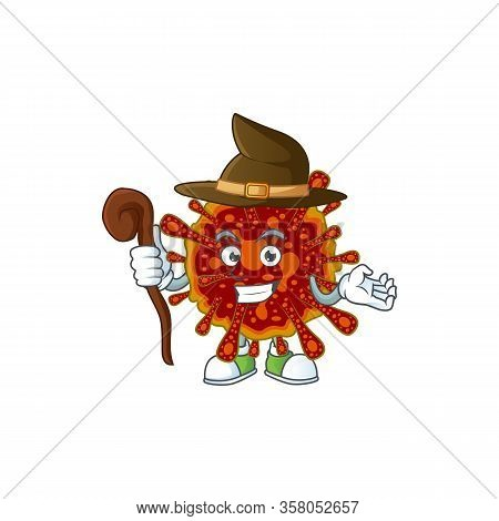 Sweet And Tricky Witch Deadly Coronvirus Cartoon Character