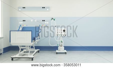 Empty intensive care bed with ventilator in the intensive care unit of a clinic during Covid-19 epidemic (3D Rendering)