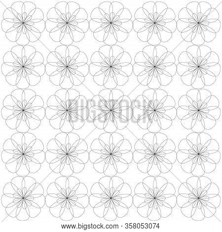 Vector Illustration Background Image Of Flowers Drawn In Contour Lines With Large And Small Petals A