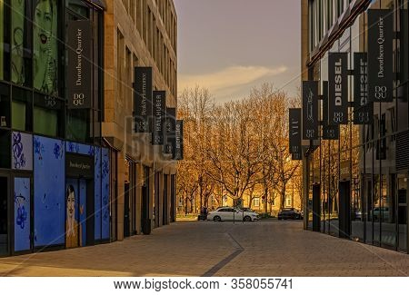 Stuttgart,germany - March 27,2020:karlsstrasse This Modern Shopping Mile Was Closed Because Of The L