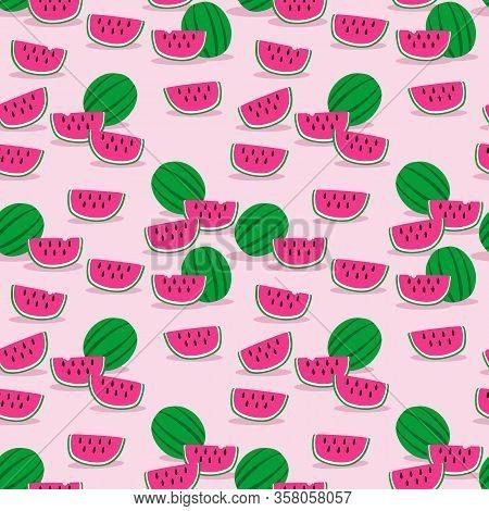 Sweet Watermelon Seamless Pattern. Summer Fruit Concept.
