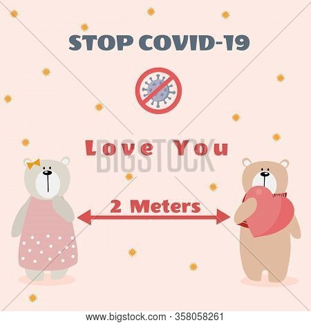 Cute Animal In Social Distancing For Prevention Corona Virus Or Covid-19