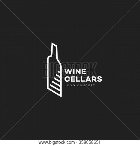 Wine Cellars Logo Design Template With Contour Of Bottle And Stairs In Linear Style. Vector Illustra