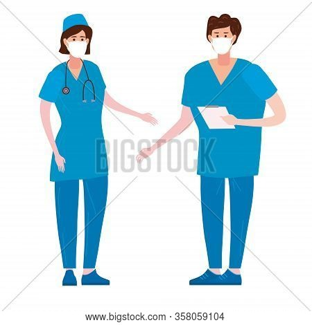 Nurse And Doctor Medical Female And Male Character. Medical Aid Occupation Concept. Professional Doc