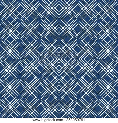 Water Cage Repeat Vector Seamless Pattern. Cobalt Simple Square Backdrop. Graphic Line Background. C