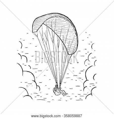 Vector Paraglider. Sketch Illustration With Hand Drawn Skydiver Flying With A Paraglider. Black Line