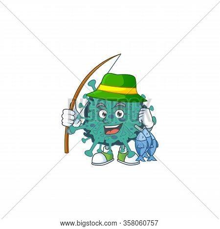 Cartoon Character Of Funny Fishing Critical Coronavirus