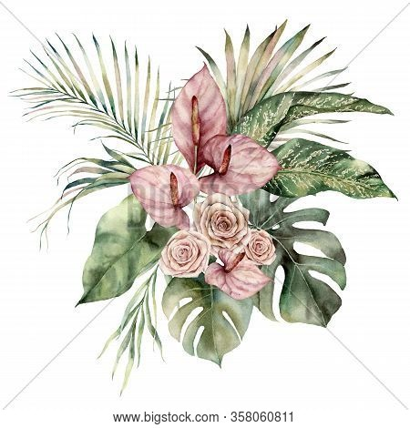 Watercolor Tropic Bouquet With Anthurium, Roses And Palm Leaves. Hand Painted Card With Flowers Isol