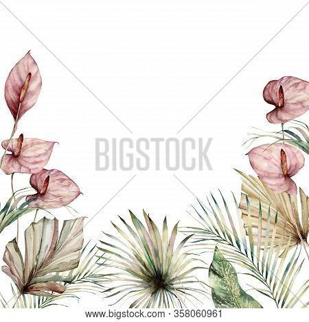 Watercolor Tropic Border With Anthurium And Palm Leaves. Hand Painted Frame With Flowers And Plant I
