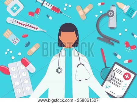 Pharmacy vector infographic elements. Woman pharmacist shows medications. Pharmacy icons set. Medicine vector illustration. Pharmacy background, pharmacy desing, pharmacy templates. Medicine, pharmacy