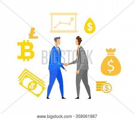 Business Partnership Flat Vector Illustration. People Making Deal Cartoon Characters. Businessmen Ha