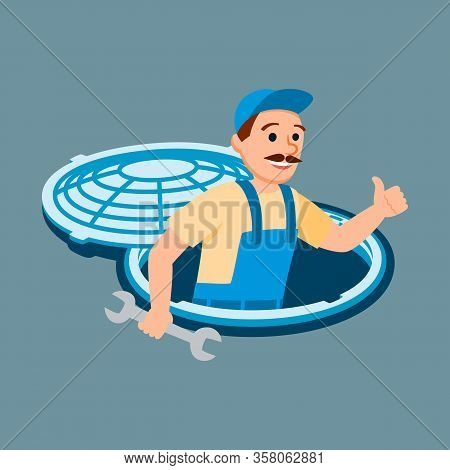 Male Plumber In Uniform Sewage System Inspection With Spanner. Plumbing Service Vector Illustration.