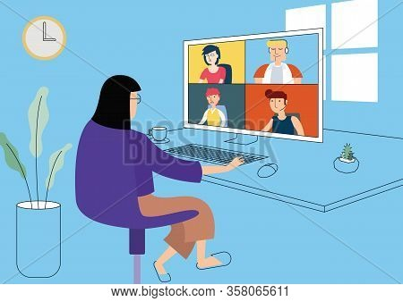 Work From Home Illustration, Video Call Group Conference Online Communication. Flat Design Vector.