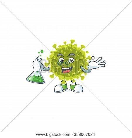 Global Coronavirus Outbreak Brainy Professor Cartoon Design Grasp A Glass Tube