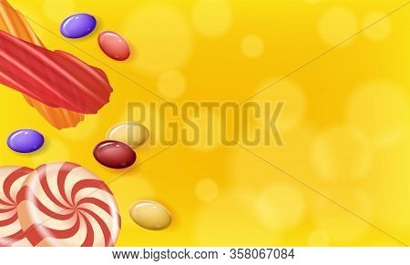 Candies Different Shapes On Yellow Background. Natural Candy. Vector Illustration. Nature Compositio