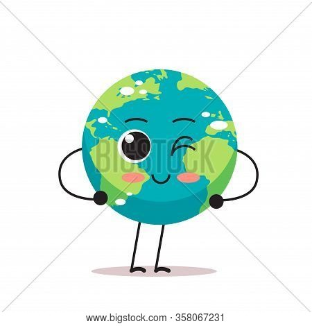 Cute Earth Character Blinking Cartoon Mascot Globe Personage Showing Facial Emotion Save Planet Conc