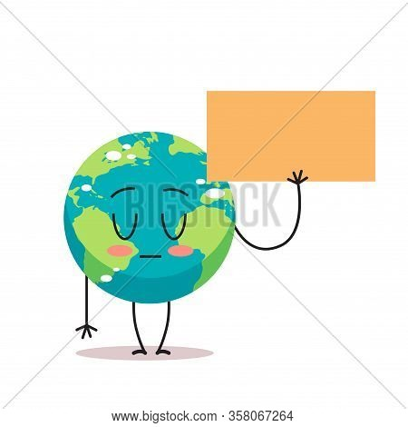 Sad Earth Character Holding Blank Banner Cartoon Mascot Globe Personage Demonstrating Against Global