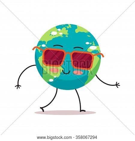 Cute Earth Character Wearing Sunglasses Cartoon Mascot Globe Personage Save Planet Global Warming Co