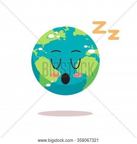 Cute Earth Character Sleeping Cartoon Mascot Globe Personage Save Planet World Sleep Day Concept Iso