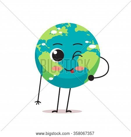 Cute Earth Character Blinking And Showing Tongue Cartoon Mascot Globe Personage With Facial Emotion