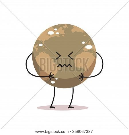 Poisoned Earth Character Air Pollution Cartoon Mascot Globe Personage Nature Environment Danger Dirt