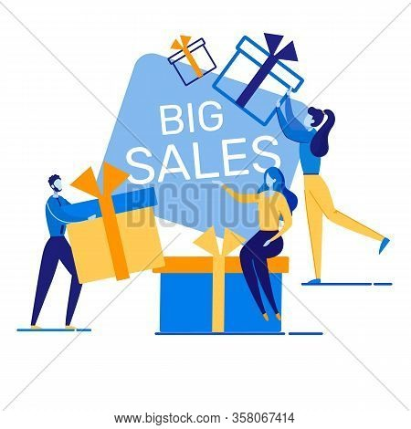 Banner Big Sales Informational Inscription Flat. Success Strategy, Constant Study State And Dynamics