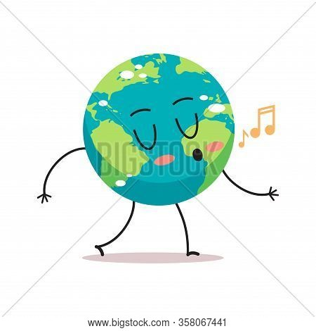 Cute Earth Character Singing Songs Cartoon Mascot Globe Personage Save Planet Concept Isolated Vecto