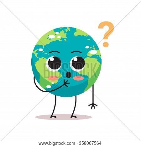 Confused Earth Character With Question Mark Cartoon Mascot Globe Personage Trouble Problem Stress Sa