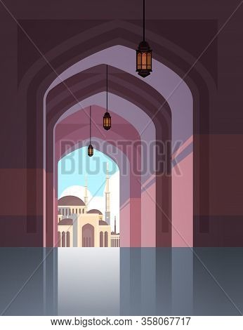 Nabawi Mosque Building Architecture Exterior View Through An Arch Religion Concept Muslim Cityscape