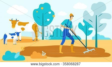 Man With Rake In Garden On Background Trees And Cattle. Vector Illustration. People On Farm. New Tec