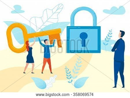 Business Problem Solving Flat Vector Illustration. Man, Woman Holding Huge Key, Unlocking Padlock. M