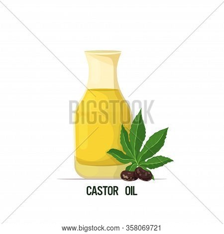Fresh Castor Oil Glass Bottle With Beans And Leaves Isolated On White Background Vector Illustration