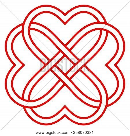Pattern Of Intertwined Hearts, Vector Knot Weaving Of Hearts Symbol Eternal Love And Friendship