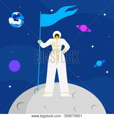 Female Astronaut On Mood Flat Vector Illustration. Woman In Space Suit Cartoon Character. Young Lady