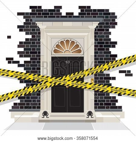 The Exterior Of Number 10 Downing Street. The Official Residence Of The Uk Prime Minister, Who Has T