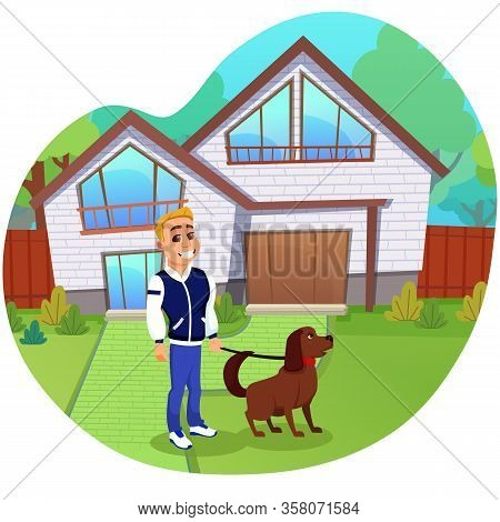 Blond Guy With Big White Toothy Smile, Wearing Sports Outfit, Walking Over His Pet Dog. Two Storey H