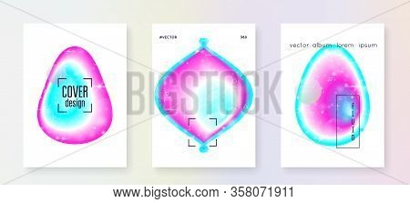 Galaxy Flyer. Solar Science Cover Set With Planets, Sun, Deep Fluid Light. Holographic Gradients. 3d