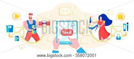 Advertising Banner Mailing Shop Offers Cartoon. An Informational Message Reinforces Loyalty With Qua