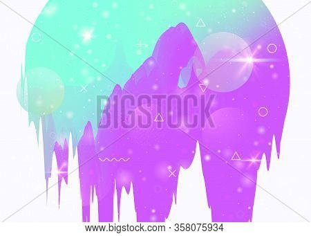 Cosmos Background With Abstract Holographic Landscape And Future Universe. Spectrum Mountain Silhoue