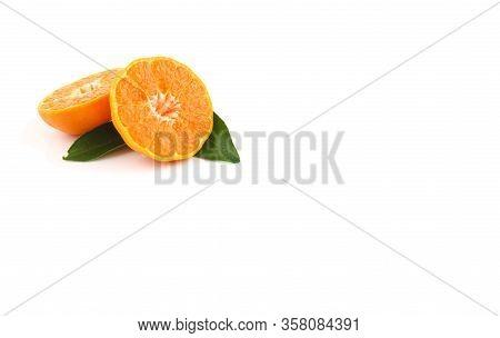 Close Up Of Sliced Orange  On White Background