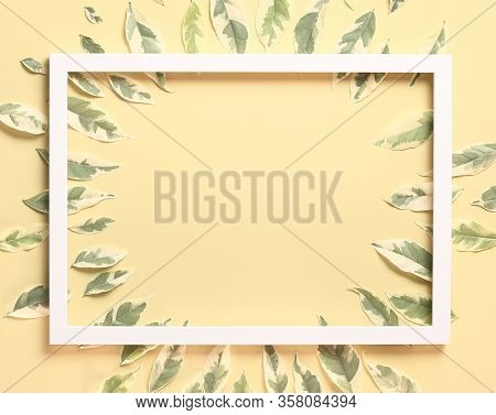 Beautiful Nature Background - Top View Many Leaves Arrange On Pastel Yellow Background